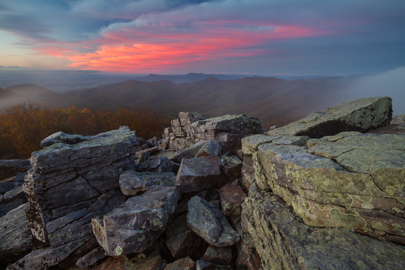 """Approach of Darkness"" - Autumn sunset from Blackrock Summit, Shenandoah National Park, Virginia."