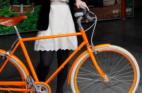 Make your daily commute more fun and heart-pumping with this orange urban bicycle. Crafted by  PUBLIC , a San Francisco-based bike and gear maker.