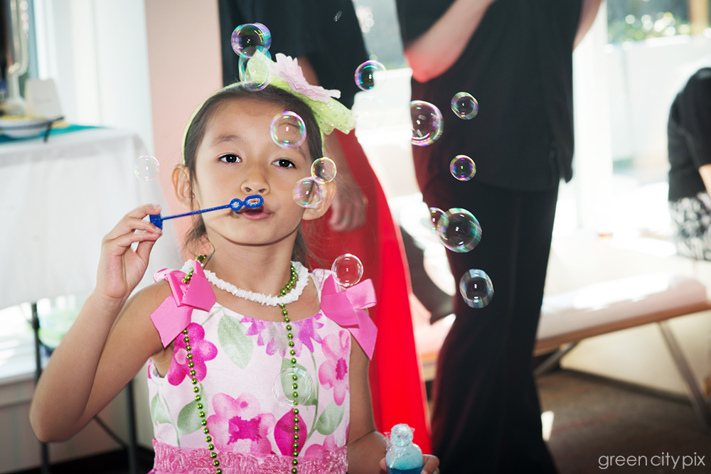 This girl was captivating as a bubble fairy.