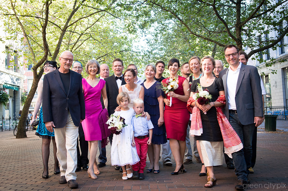 After the ceremony, we headed outside for some formal photos of close family and friends. The leafy arch provided a nice atmosphere in the southern section of Occidental Park.