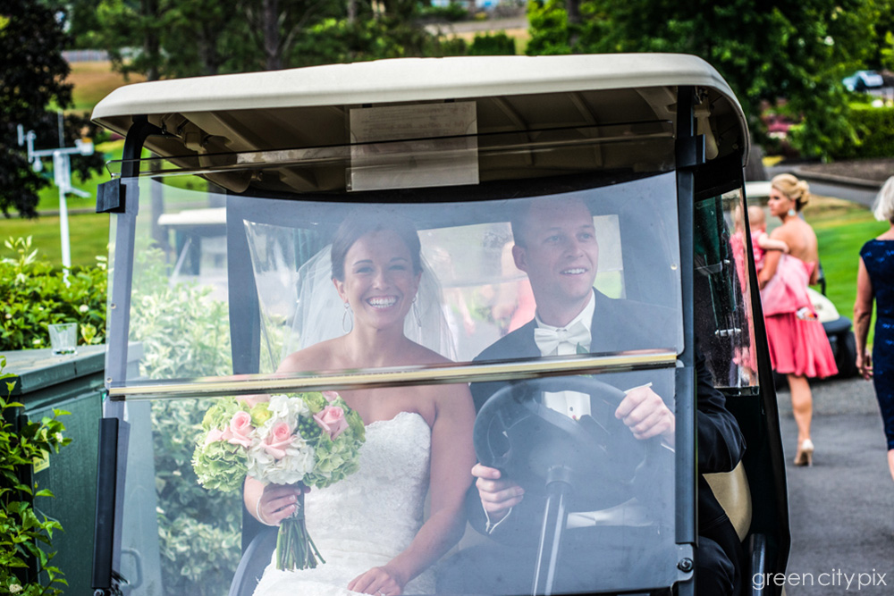 Heading to the altar in a golf car!