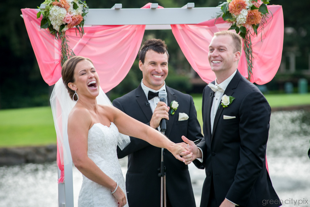 There was a lot of laughter during the vows.