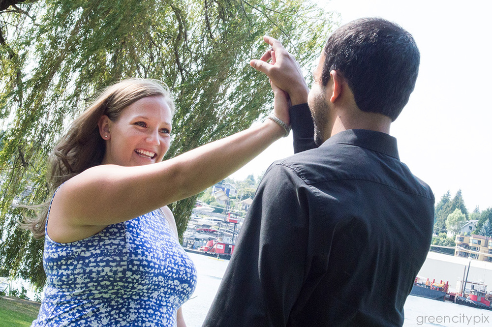 """We always high-five each other,"" Chelsea said.  Photo taken at South Passage Point Park on Lake Union."