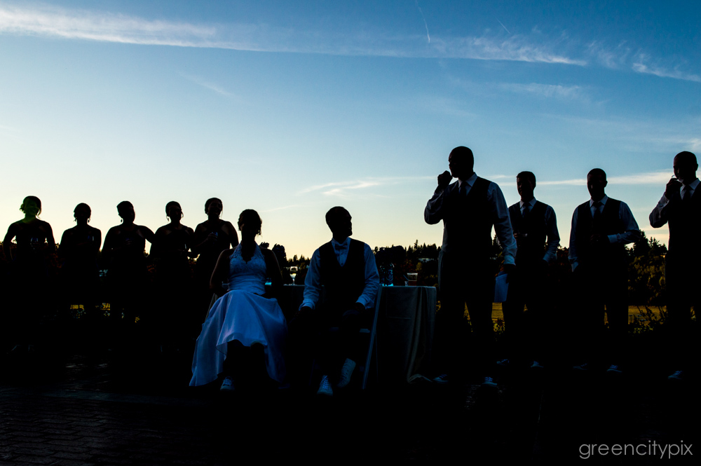They partied long after the sun went down... Silhouettes of the wedding party as a groomsman makes a speech.