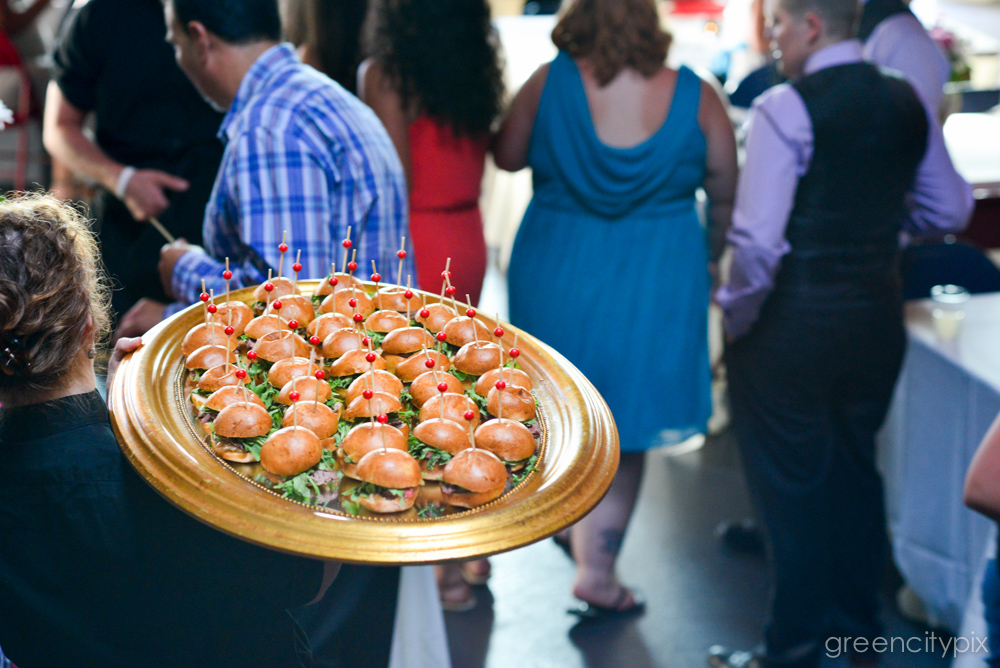Say yes to burgers at your wedding! Served during the cocktail hour.
