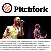 Interviews: Shudder to Think,  Pitchfork,  Sept. 16, 2008