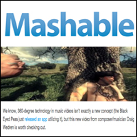 360 Degree Music Video Creates a Dreamy, Haunting World,  Mashable , Feb 16, 2011