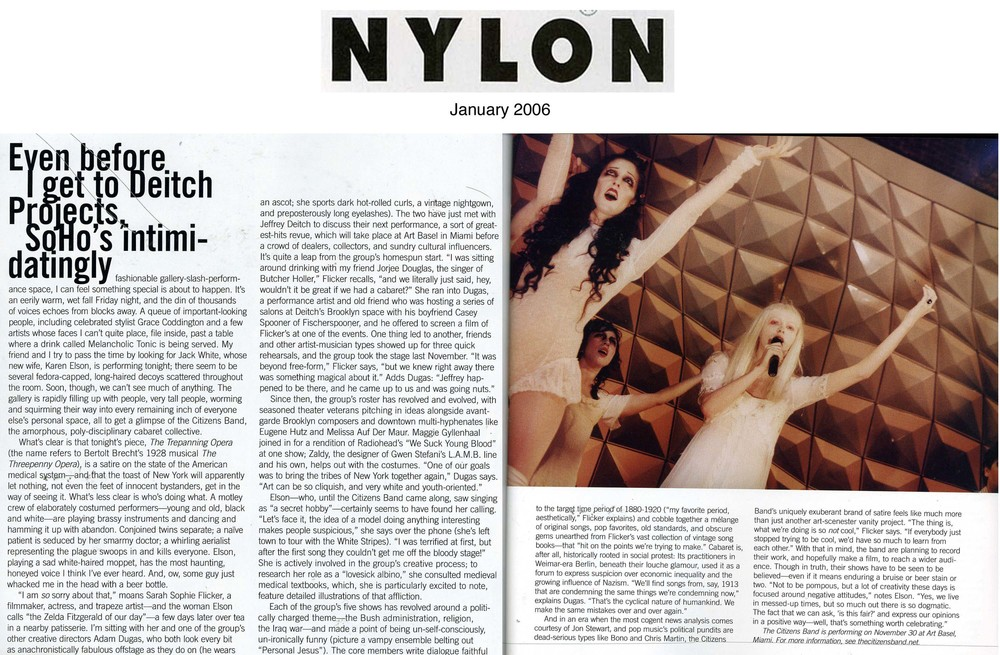 Show and Tell,  Nylon Magazine , Jan 2006