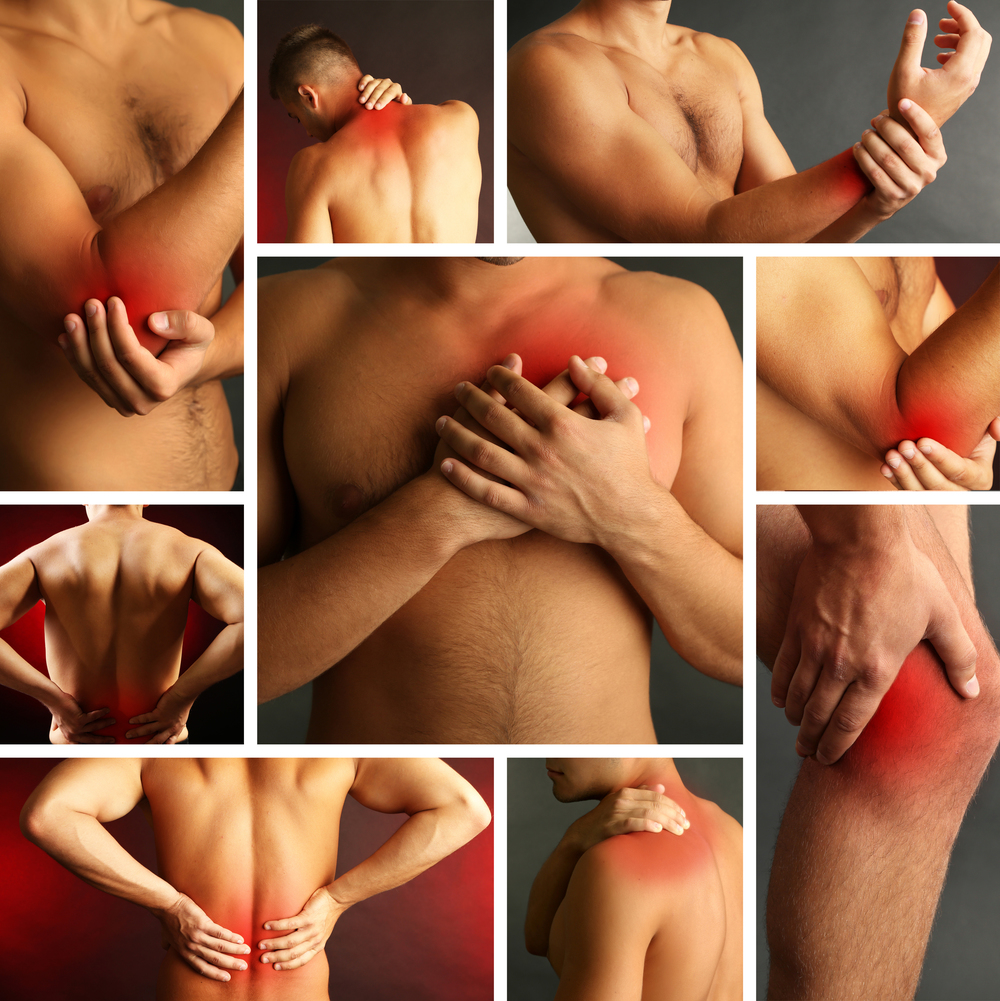 Lower back pain, elbow pain, knee pain, shoulder pain, wrist pain, neck pain