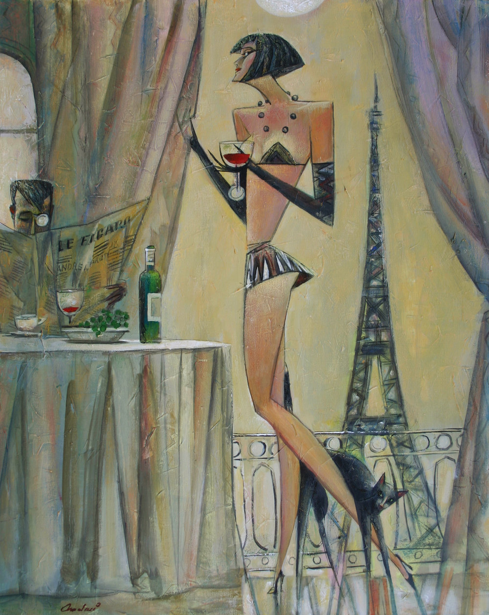 """""""Le Figaro"""" Oil on Canvas 30"""" x 24"""""""