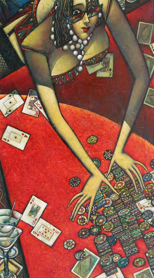 """""""All In"""" Oil on Canvas 50"""" x 28"""""""