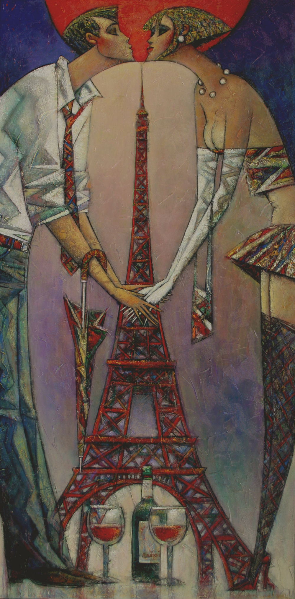 """""""Paris for Two"""" Oil on Canvas 48"""" x 24"""""""