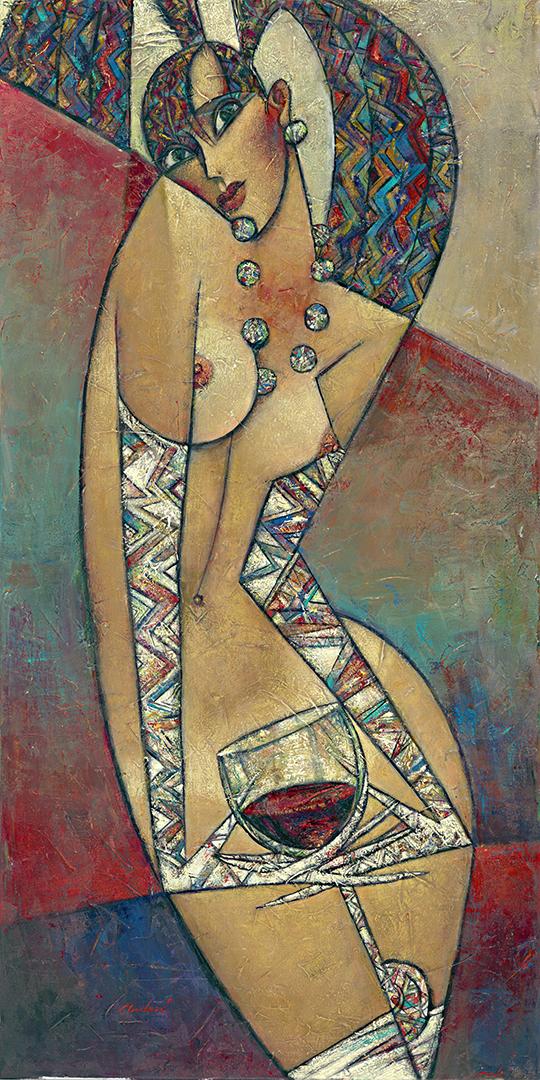 """""""Rouge Devant"""" Oil on Canvas 48"""" x 24"""""""