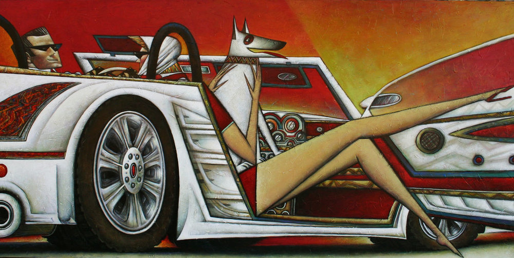 """""""Low Ride"""" Oil on Canvas 26"""" x 50"""""""