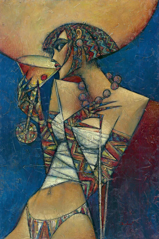 """""""Cherry Manhattan"""" Oil on Canvas 24"""" x 36"""""""