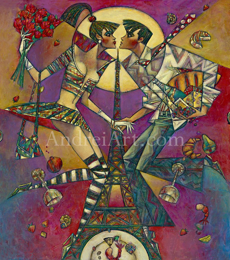 """""""Paris sur une Assiette"""" Oil on Canvas 60"""" x 36"""""""