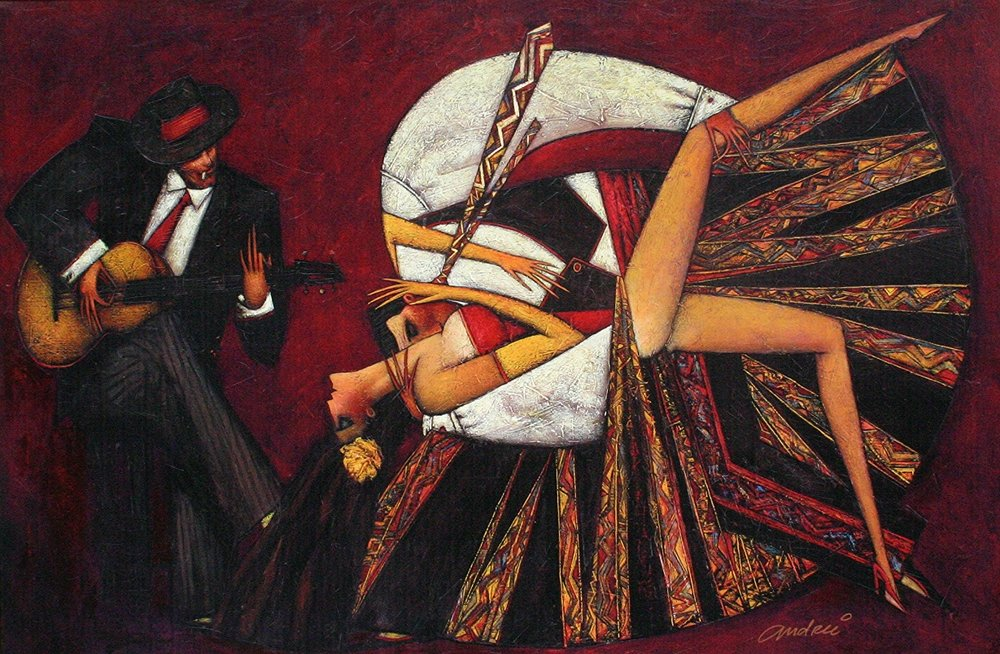 """Tango Flamenco"" Oil on Canvas 34"" x 48"""