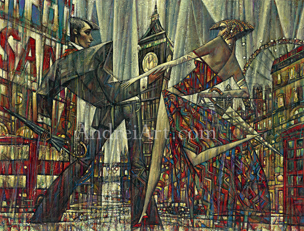 """""""London Time"""" Oil on Canvas 28"""" x 50"""""""