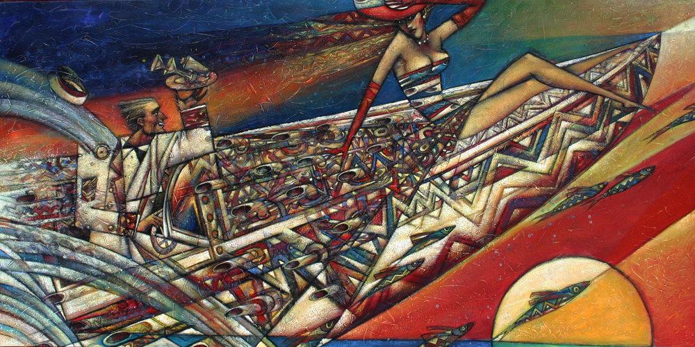 """Speedboat"" Oil on Canvas 26"" x 50"""
