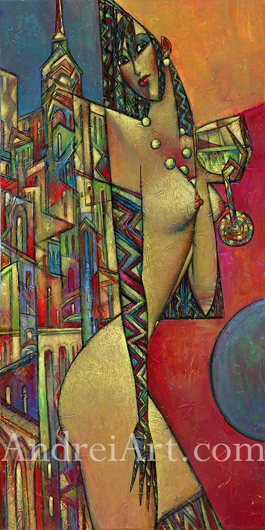 """""""City Grapes"""" Oil on Canvas 48"""" x 24"""""""
