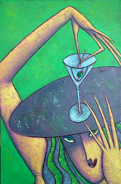 """""""Olive Party"""" Oil on Canvas 20"""" x 16"""""""