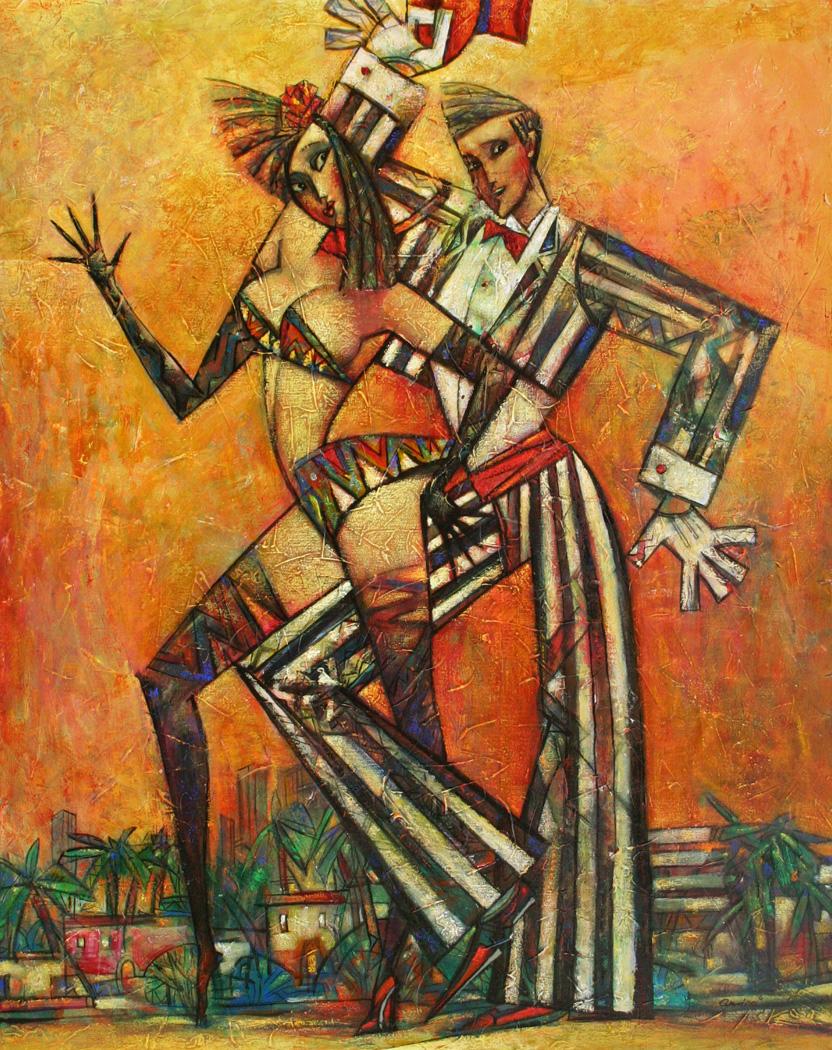 """""""South Beach Rumba"""" Oil on Canvas 40"""" x 32"""""""