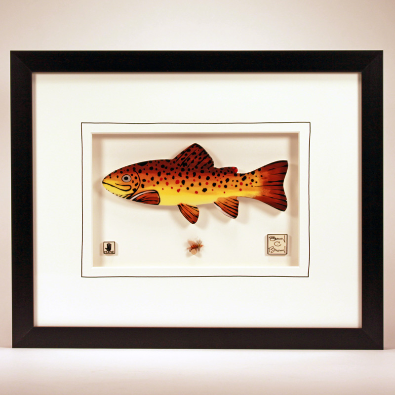 """Brown Trout"" 11 x 14 ceramic with a hand-tied fly $279.00"