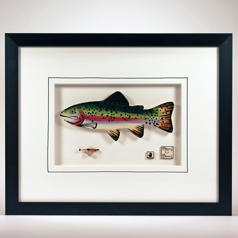 """Rainbow Trout"" 11 x 14 ceramic with a hand-tied fly $279"