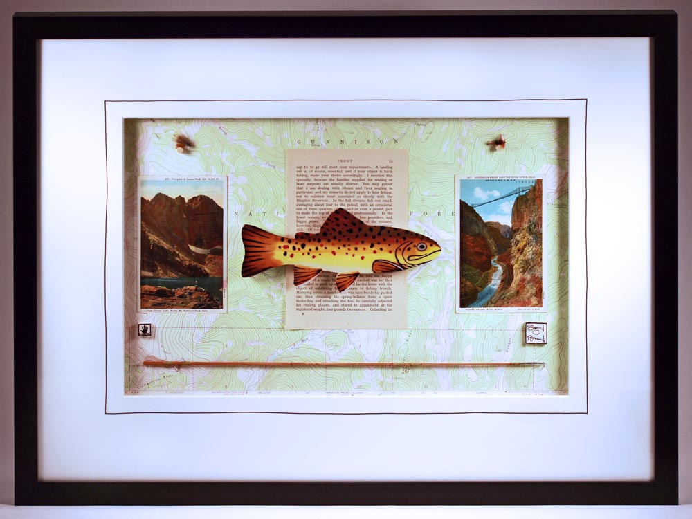 """Colorado Brown Trout"" 18 x 24 ceramic, hand-tied flies, vintage fly rod, postcards, book page and topo. map $499 sold"
