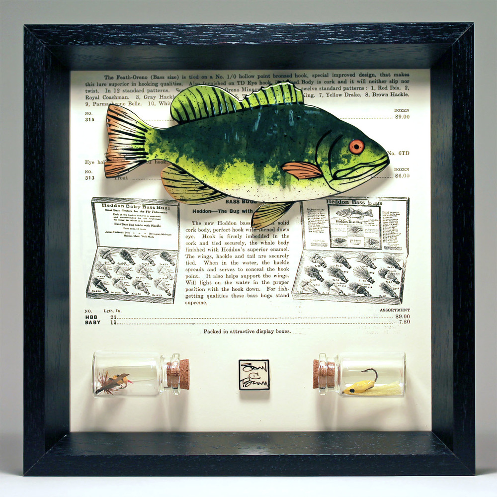 """Bass"" 8 x 8 ceramic, vintage book page and flies $189"
