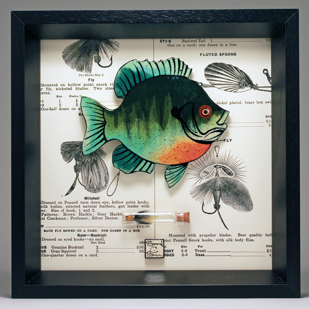 """Bluegill"" 8 x 8 ceramic, vintage book page, popper fly $189"