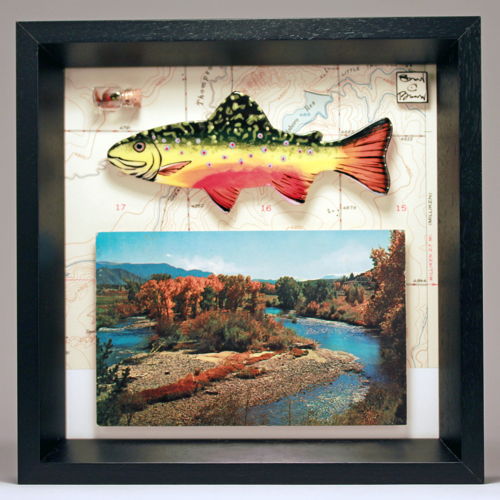 """Autumn Brookie"" 8 x 8 ceramic, vintage map, postcard and fly $189"
