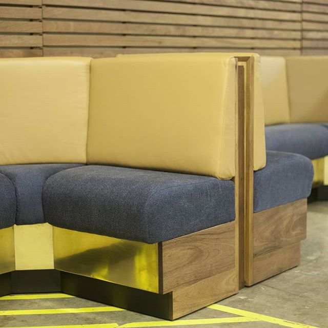 Custom made Banquette for @chichanyc design by @cwallarchitecture . Royal Mahogany wood in oil finish to bring out the beautiful grain, upholstered back in leather and brass details up front. . . . #customfurniture #banquette #wood #sustainable #royalmahogany #leather #uphosltery #brass #madeinnicaragua #maderaslife