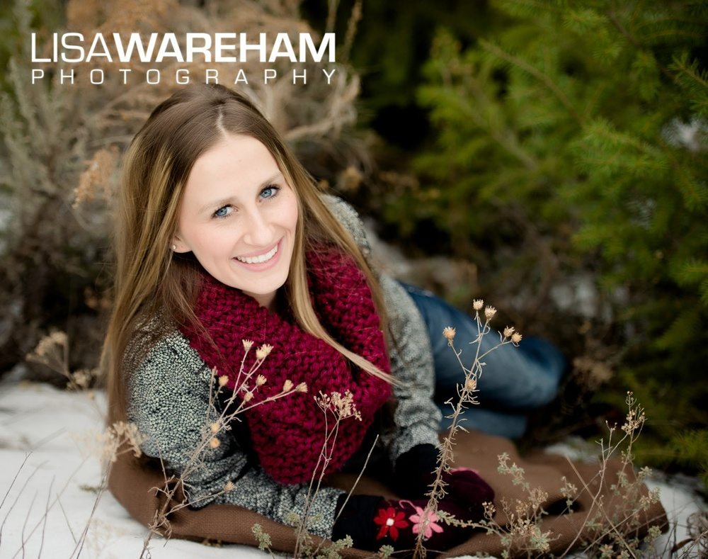 winter senior pictures in montana with snow