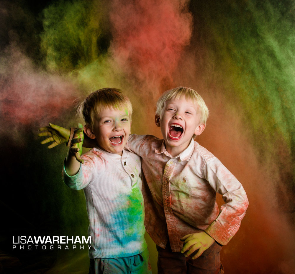 Play in color powder after your formal/fun family portraits!