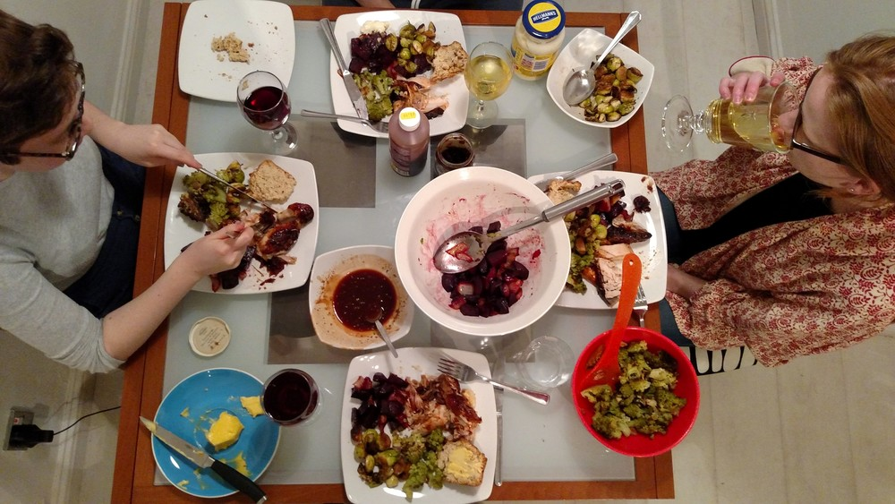 Roasted BBQ chicken,  beet root with onion, romanesco, pan fried brussels sprouts, beer bread, wine, and new friends.