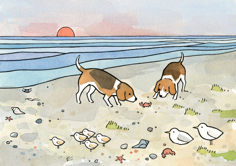 beagles beach art