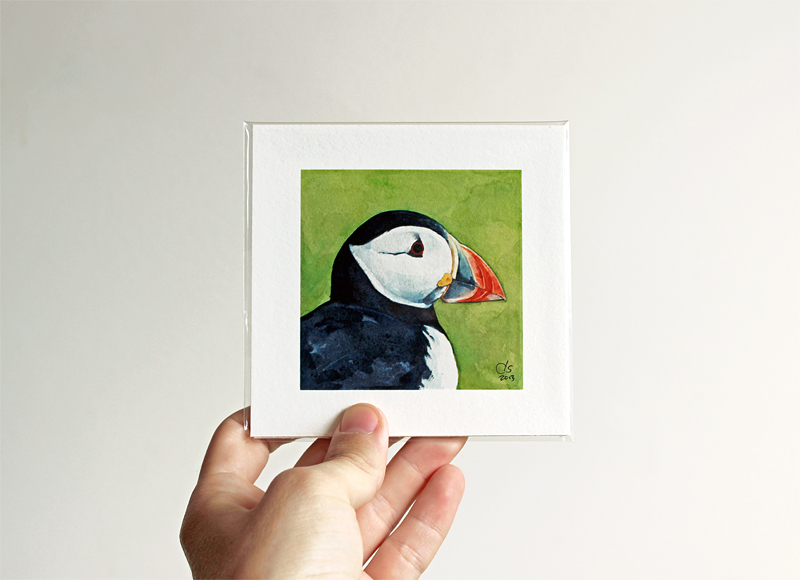 puffin portrait painting