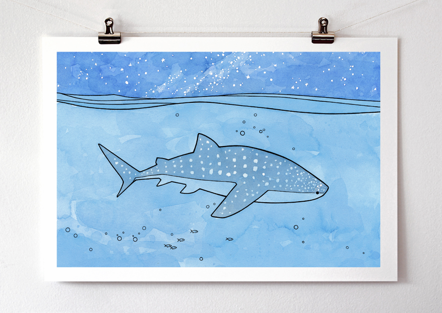 13x19 Whale Shark Print