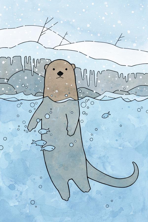 Swimming River Otter illustration Buy Prints