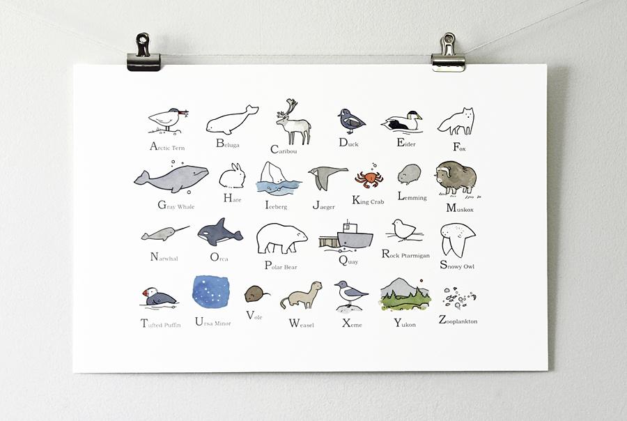 Illustrated Arctic Alphabet Print