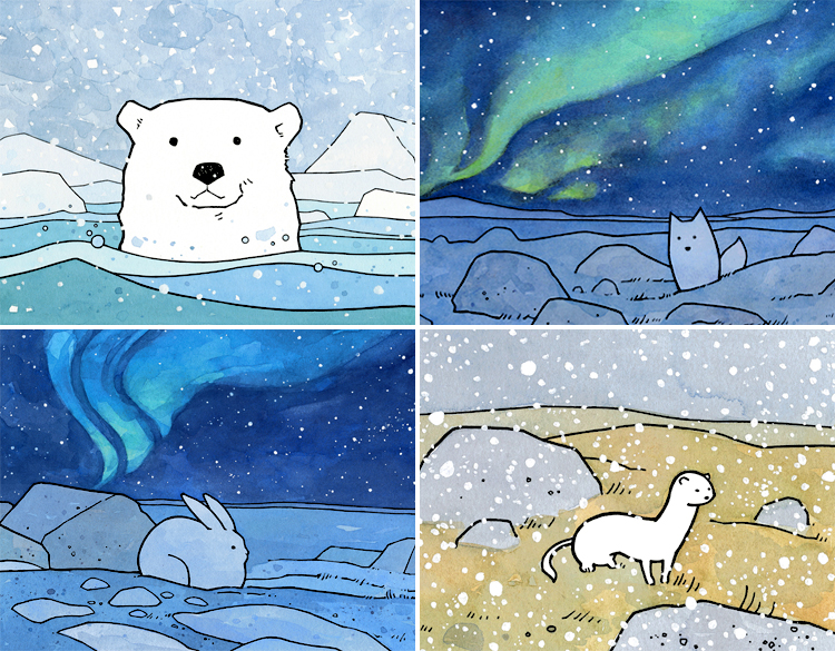 Arctic animal art prints