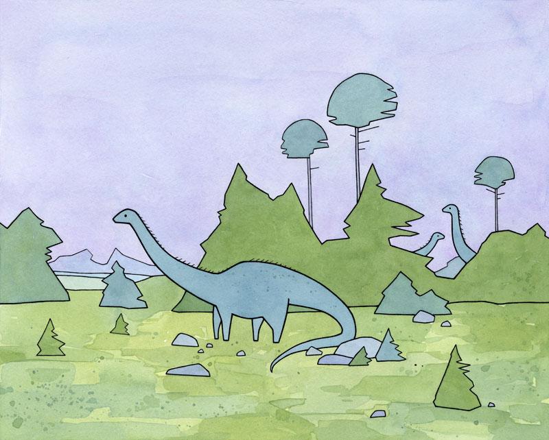 Diplodocus Sauropod, Cute Dinosaur Art