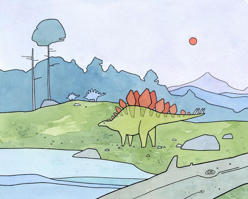 Cute stegosaurus dinosaur art print