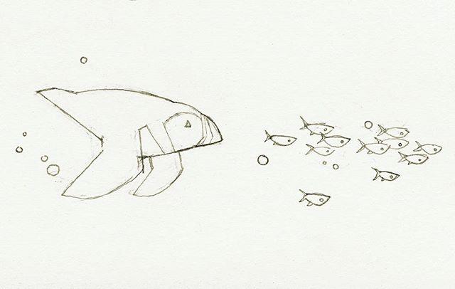 Swimming #puffin sketch. Possible mug design?