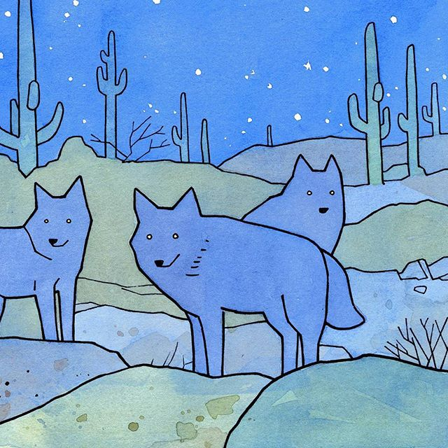 Detail of one of my personal favorites. A southwest desert landscape with coyotes and elf owls (out of frame). Drawing saguaros is lots of fun!