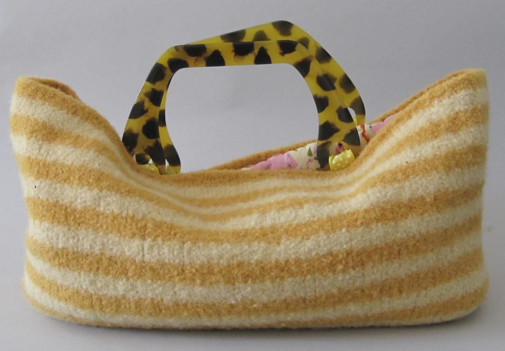 yellow striped purse