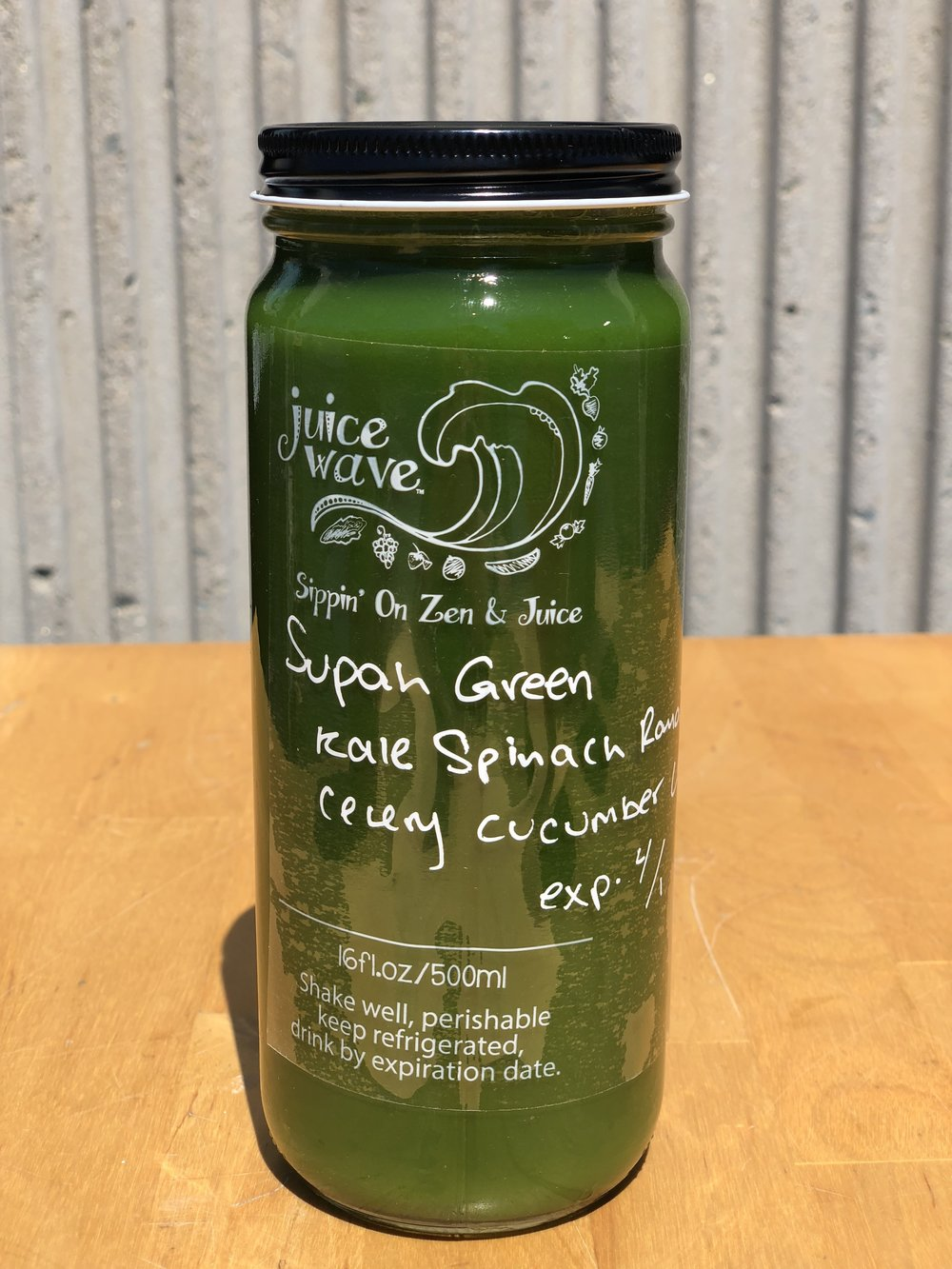 SUPAH GREEN: Kale, Spinach, Romaine, Celery, Cucumber, Parsley, Lemon
