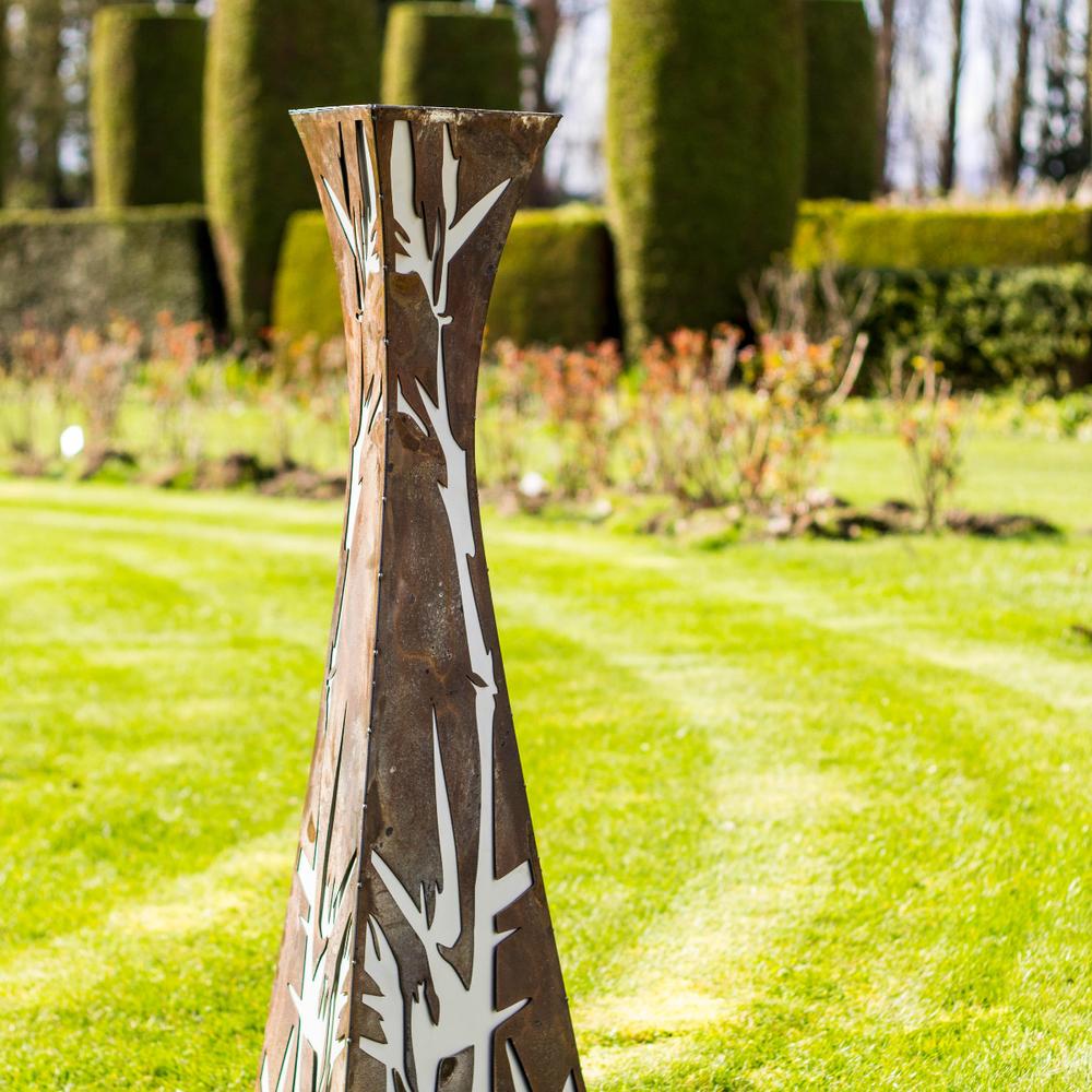 Bamboo motif pedestal patina metal art scuplture