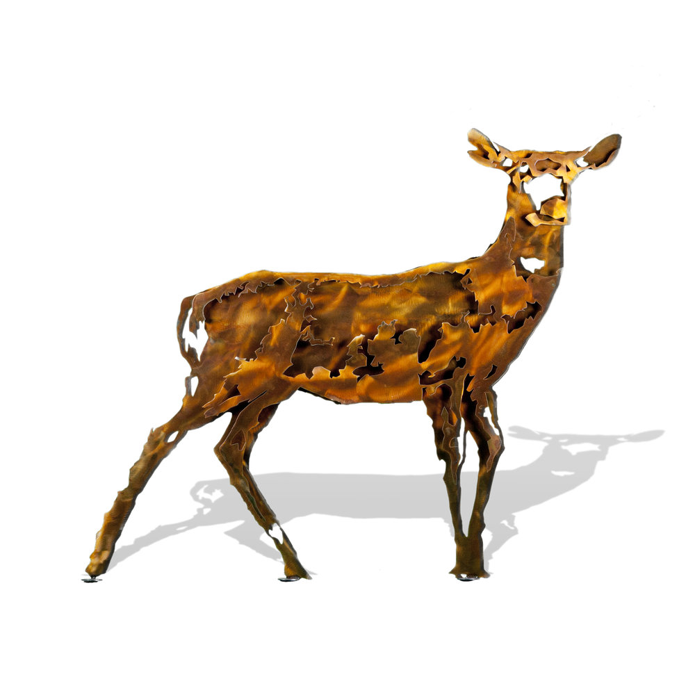 Deer Doe - Stylized Brown Patina Large Stake Metal Artwork Form